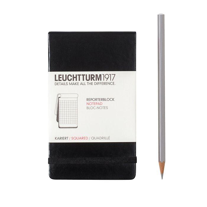 Bloc-notes Pocket (A6), couverture rigide, 94 pages numérotées, quadrillé, noir