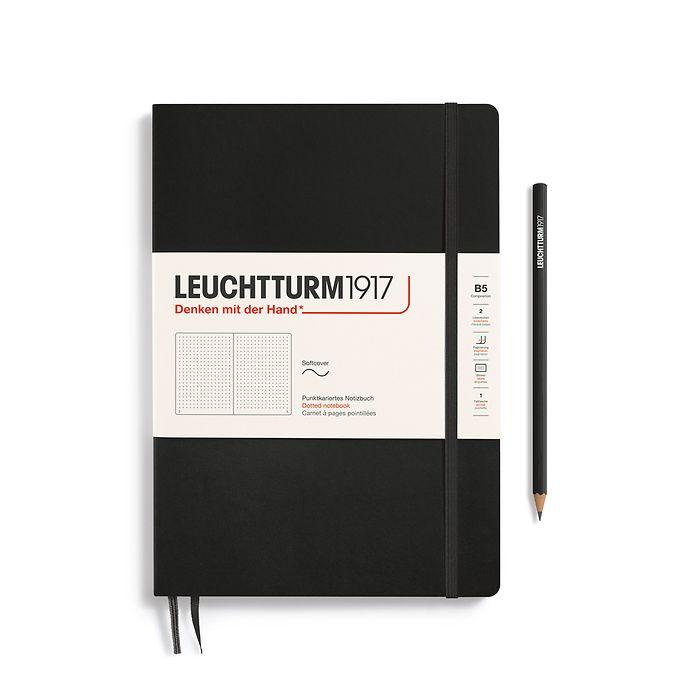 Carnet Composition (B5), couverture souple, 123 pages numérotées, pointillés, noir