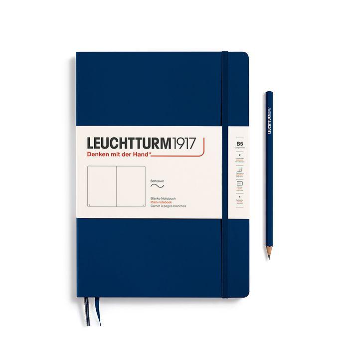 Carnet Composition (B5), couverture souple, 123 pages numérotées, blanc, bleu marine