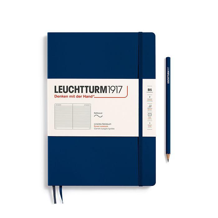 Carnet Composition (B5), couverture souple, 123 pages numérotées, ligné, bleu marine