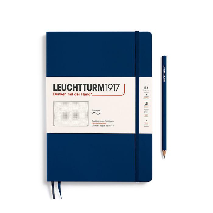 Carnet Composition (B5), couverture souple, 123 pages numérotées, pointillés, bleu marine