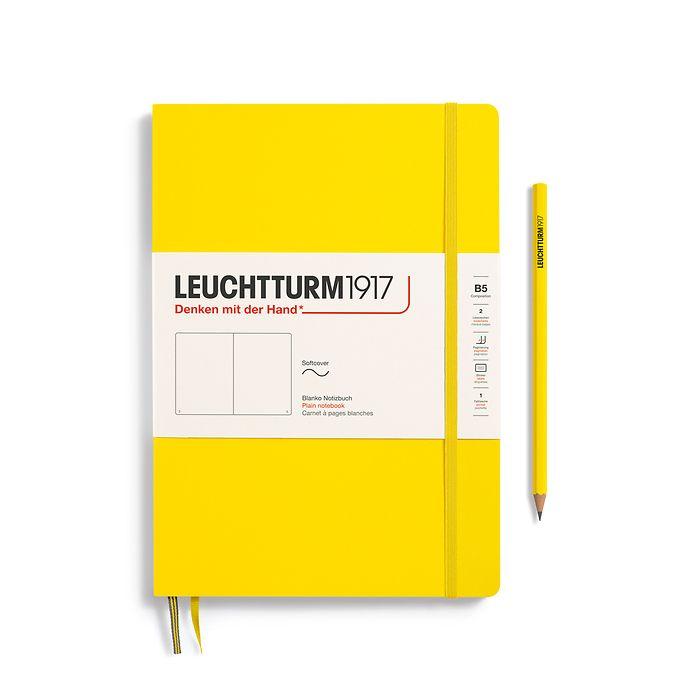 Carnet Composition (B5), couverture souple, 123 pages numérotées, blanc, citron