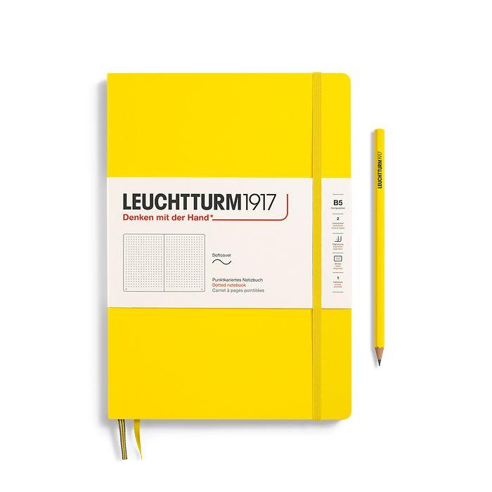 Carnet Composition (B5), couverture souple, 123 pages numérotées, pointillés, citron