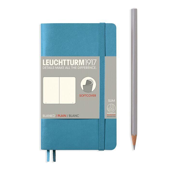 Carnet Pocket (A6), couverture souple, 123 pages numérotées, blanc, nordic blue