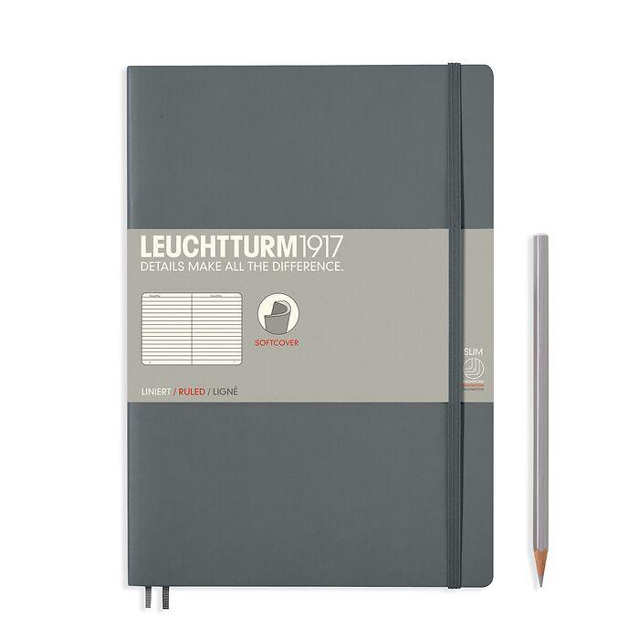Carnet Composition (B5), couverture souple, 123 pages numérotées, ligné, anthracite