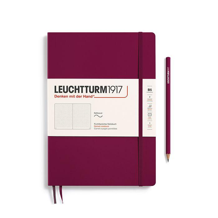 Carnet Composition (B5) dotted couverture souple, 123 pages numérotées, port red