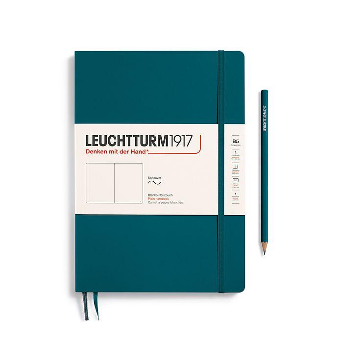 Carnet Composition (B5) blanc, couverture souple, 123 pages numérotées, pacific green