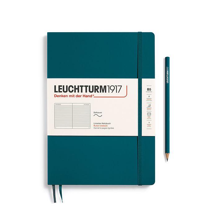 Carnet Composition (B5) ligné, couverture souple, 123 pages numérotées, pacific green