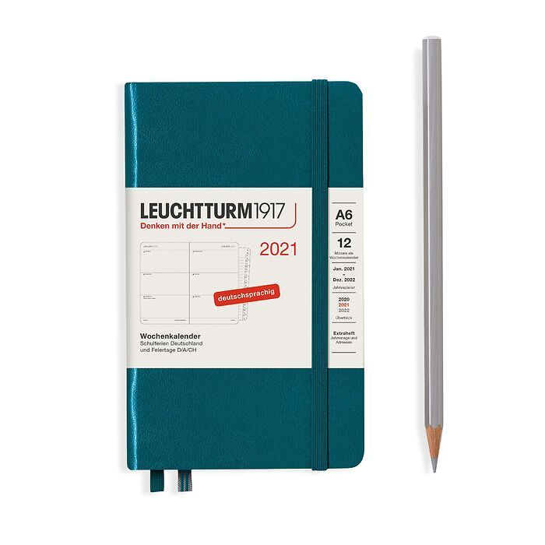 Agenda Semainier Pocket (A6) 2021, avec cahier, Pacific Green, Allemand