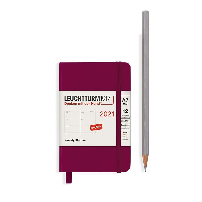 Agenda Semainier Mini (A7) 2021, Port Red, Anglais