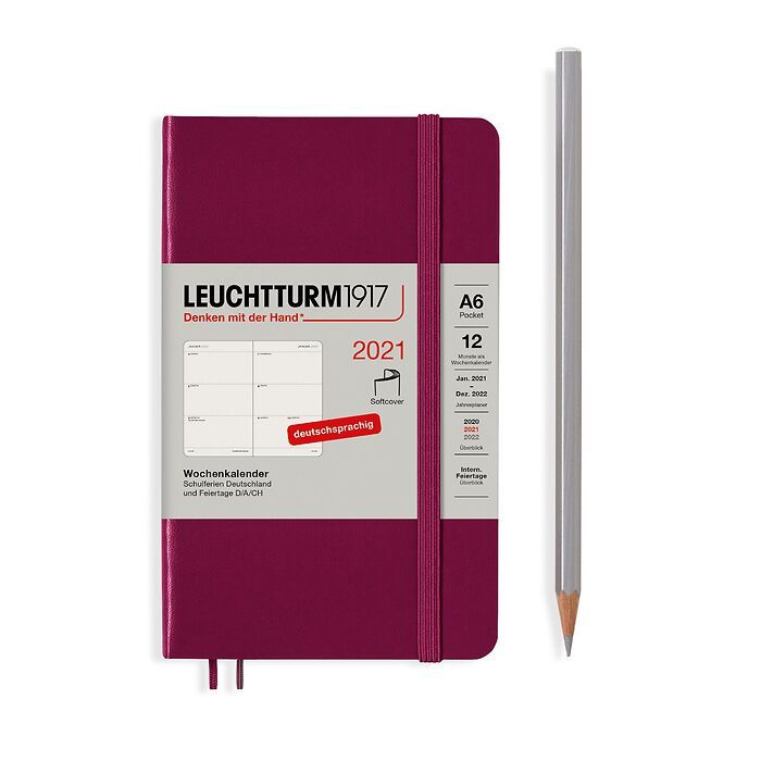 Agenda Semainier Pocket (A6) 2021, Couverture souple, Port Red, Allemand