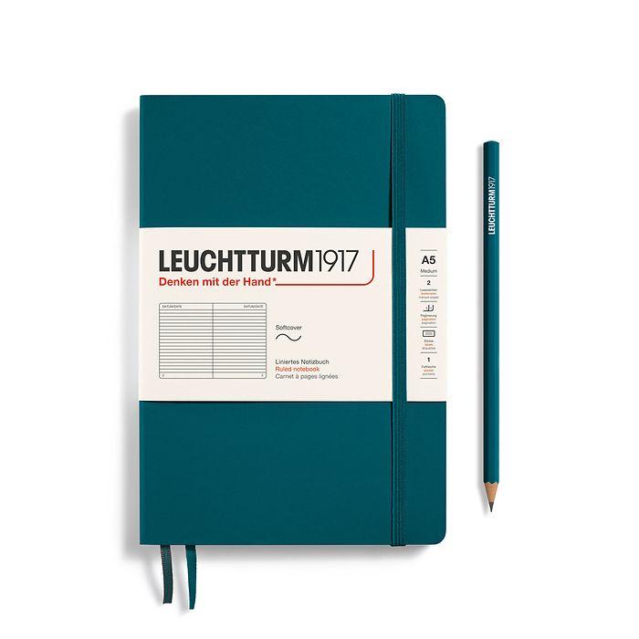 Carnet de notes Medium (A5), couverture souple, 123 pages numérotées, Pacific Green, ligné
