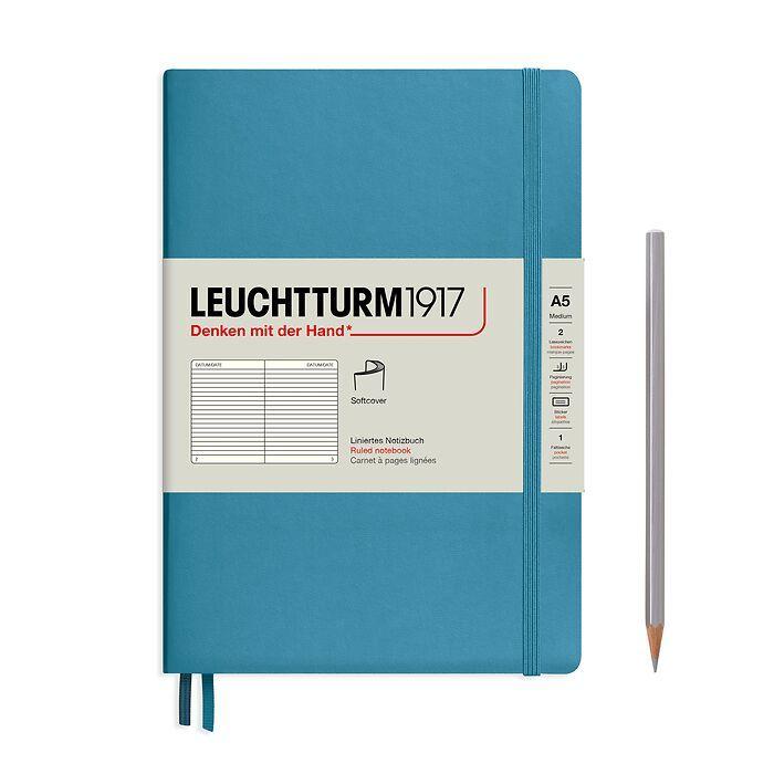 Carnet de notes Medium (A5), couverture souple, 123 pages numérotées, Nordic Blue, ligné