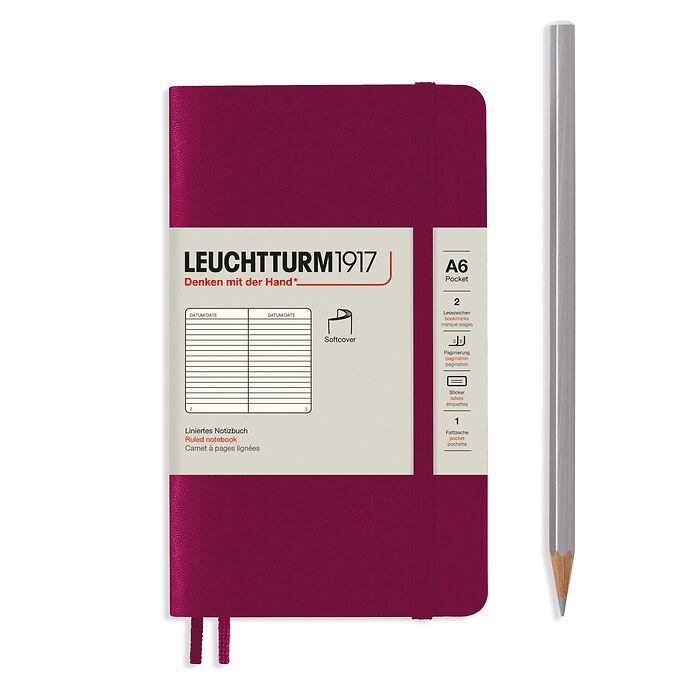 Carnet de notes Pocket (A6), couverture souple, 123 pages numérotées, Port Red, ligné