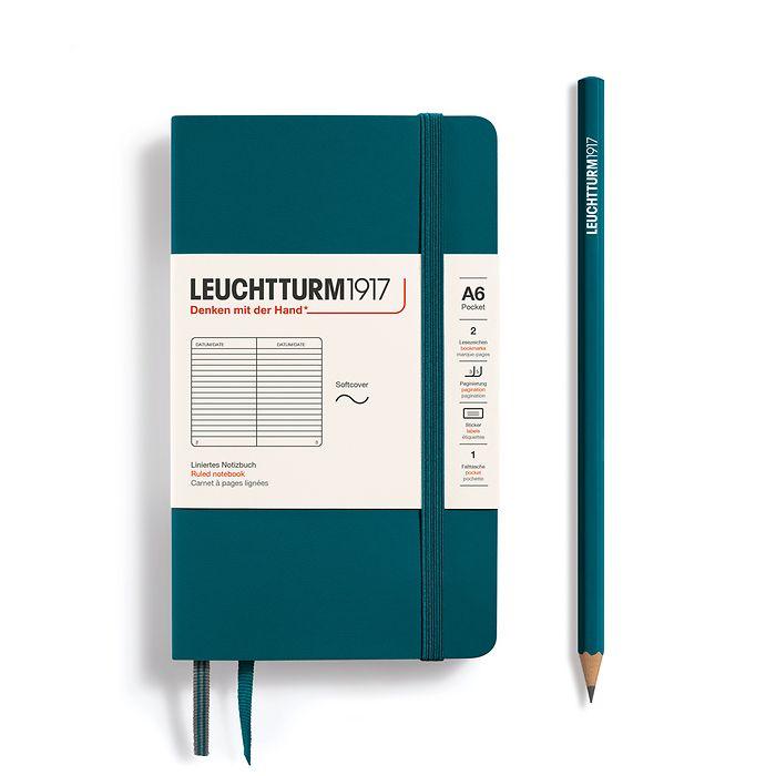 Carnet de notes Pocket (A6), couverture souple, 123 pages numérotées, Pacific Green, ligné