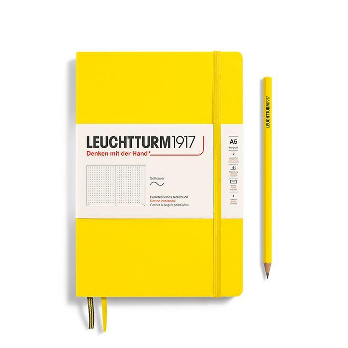 Carnet de notes Medium (A5), couverture souple, 123 pages numérotées, Citron, pointillé