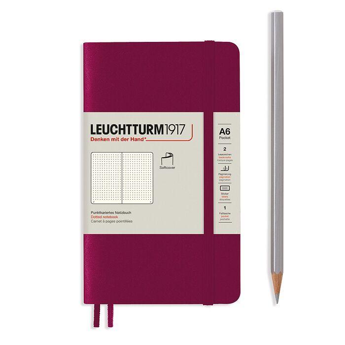 Carnet de notes Pocket (A6), couverture souple, 123 pages numérotées, Port Red, pointillé