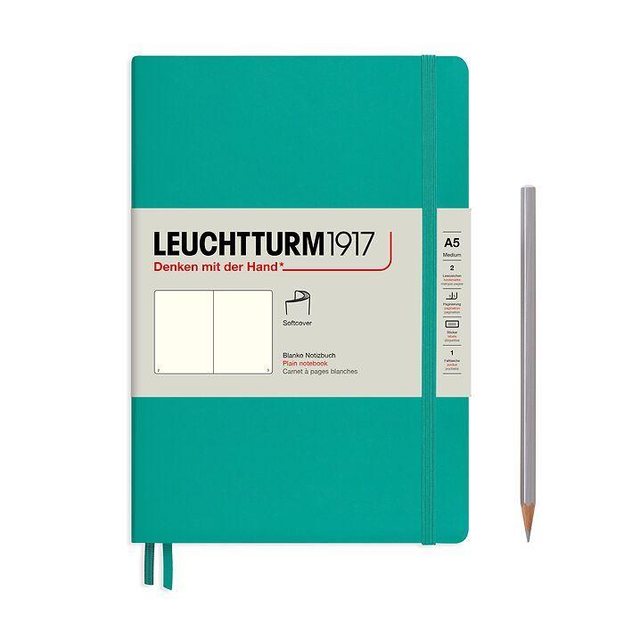 Carnet de notes Medium (A5), couverture souple, 123 pages numérotées, Émeraude, blanc