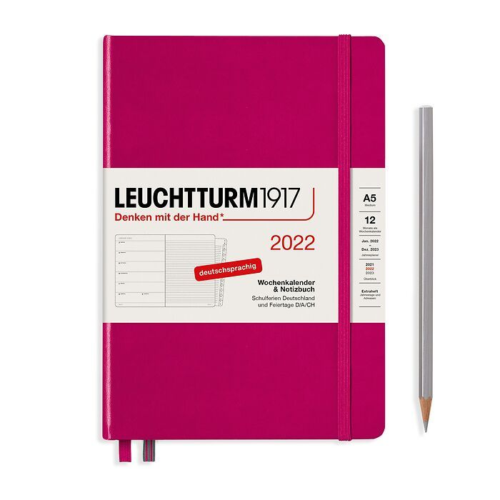 Agenda Semainier & Carnet Medium (A5) 2022, avec cahier, Baie, Allemand