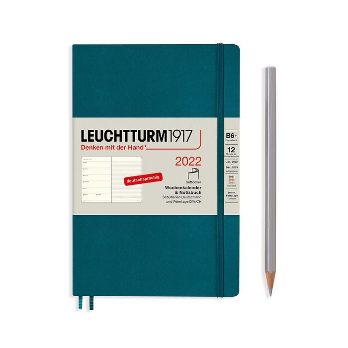 Agenda Semainier & Carnet Paperback (B6+) 2022, Couverture souple, Pacific Green, Allemand