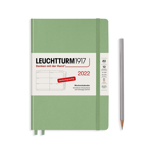 Agenda Semainier Medium (A5) 2022, avec cahier, Sauge, Allemand