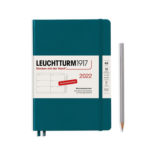 Agenda Semainier Medium (A5) 2022, avec cahier, Pacific Green, Allemand