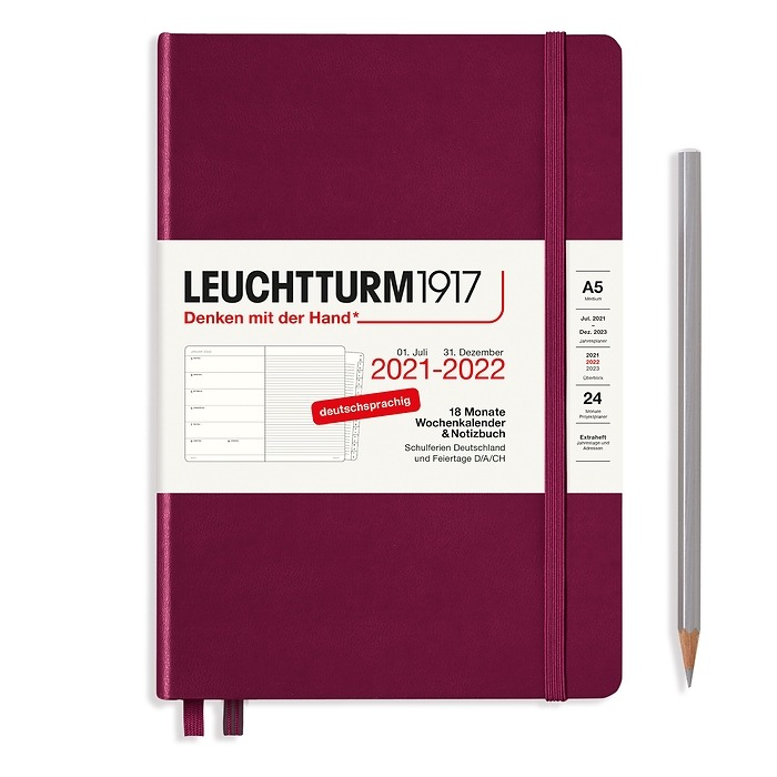 Agenda Semainier & Carnet Medium (A5) 2022, avec cahier, 18 Mois, Port Red, Allemand