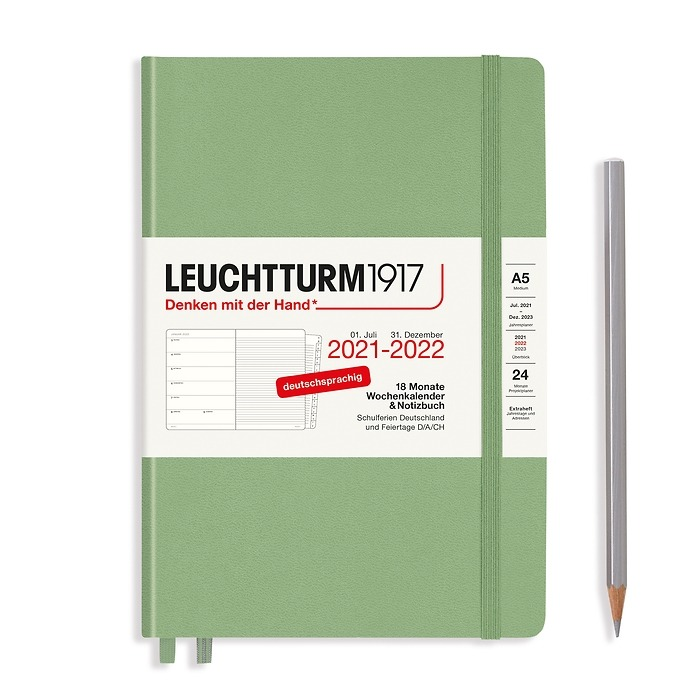 Agenda Semainier & Carnet Medium (A5) 2022, avec cahier, 18 Mois, Sauge, Allemand