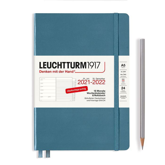 Agenda Semainier & Carnet Medium (A5) 2022, avec cahier, 18 Mois, Stone Blue, Allemand