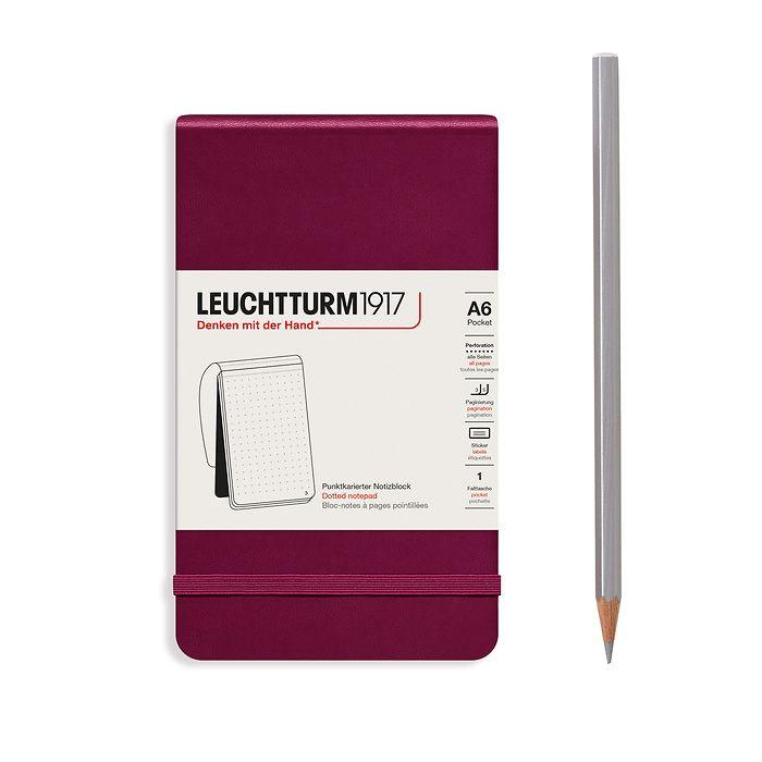Bloc-notes Pocket (A6), couverture rigide, 94 pages numérotées, Port Red, pointillé