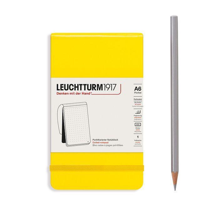 Bloc-notes Pocket (A6), couverture rigide, 94 pages numérotées, Citron, pointillé