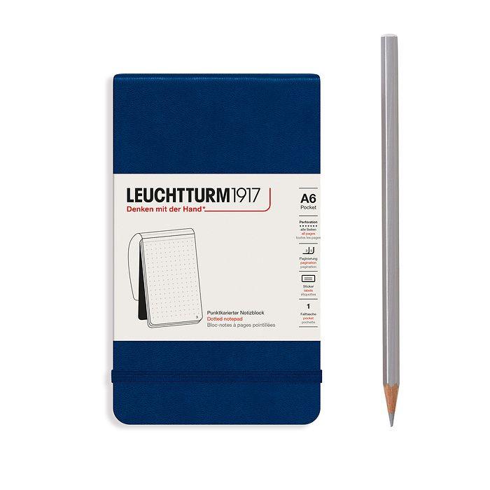 Bloc-notes Pocket (A6), couverture rigide, 94 pages numérotées, Bleu Marine, pointillé
