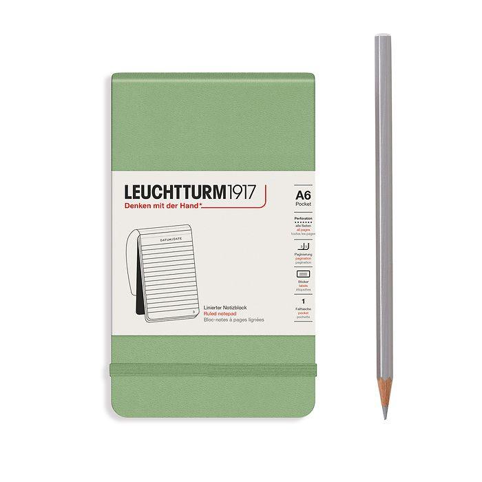 Bloc-notes Pocket (A6), couverture rigide, 94 pages numérotées, Sauge, ligné
