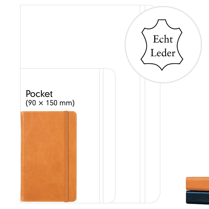 Carnet en Cuir Pocket (A6), couverture rigide, 185 pages numérotées